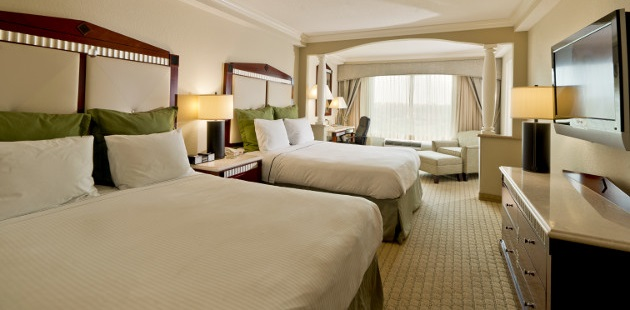 Two queen beds in spacious hotel room