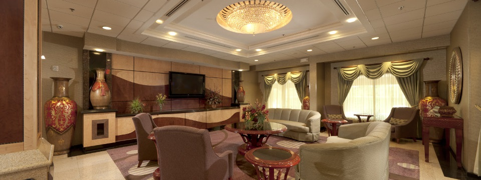 Elegant seating area in hotel lobby