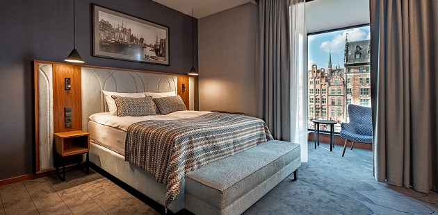 Hotel room with view of Gdańsk