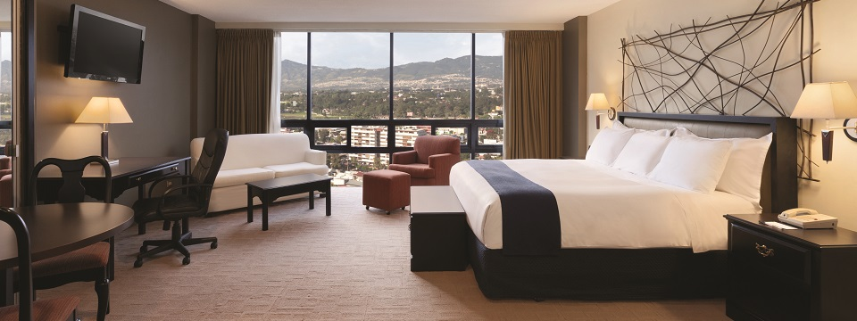 Hotel suite featuring a king bed with crisp white linens and a city view