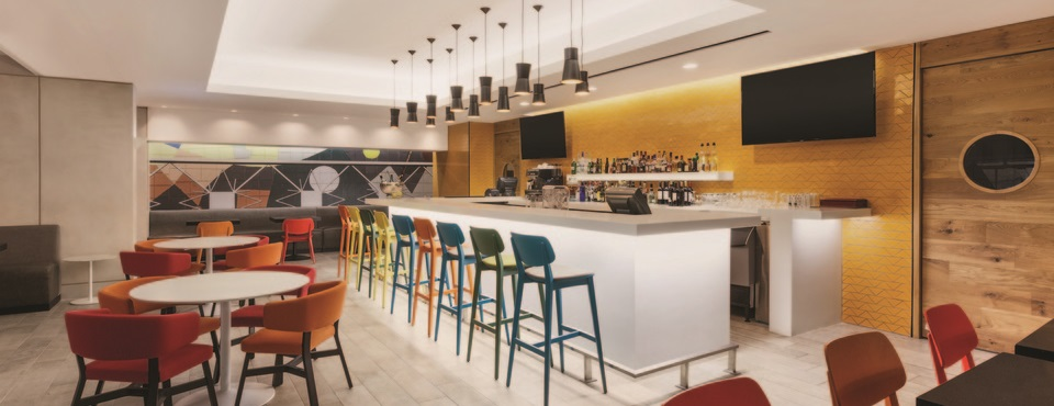 Hotel bar featuring colorful décor in Guatemala City