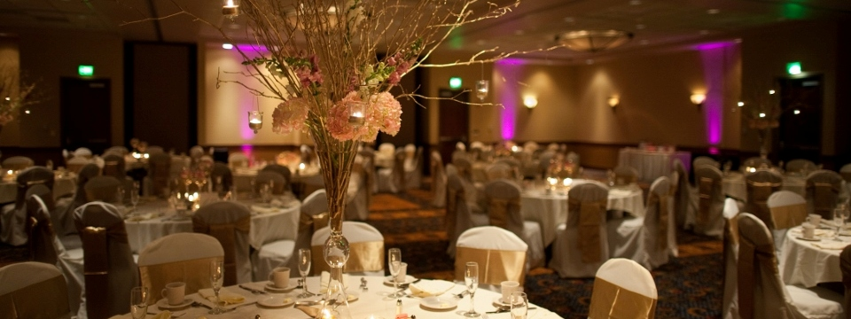Decorated tables and chairs for wedding