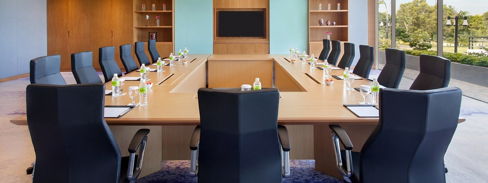 Boardroom with modern conference table and chairs