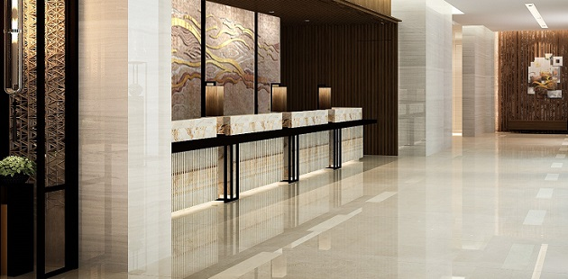 Lobby with elegant desk and artwork