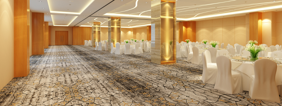 Medan meeting room with light-colored walls and gray carpet