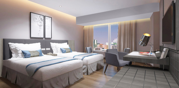 Hotel room with two queen beds and views of Medan