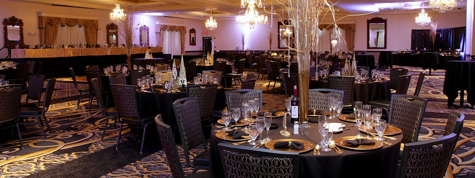 Ballroom decorated for special event