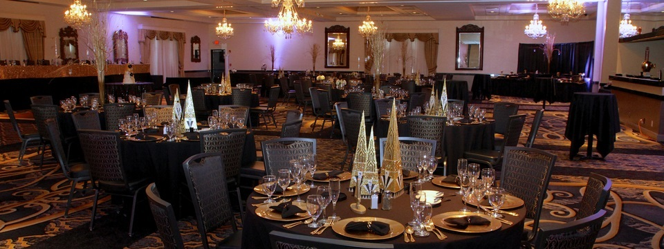 Ballroom with gold-themed decor