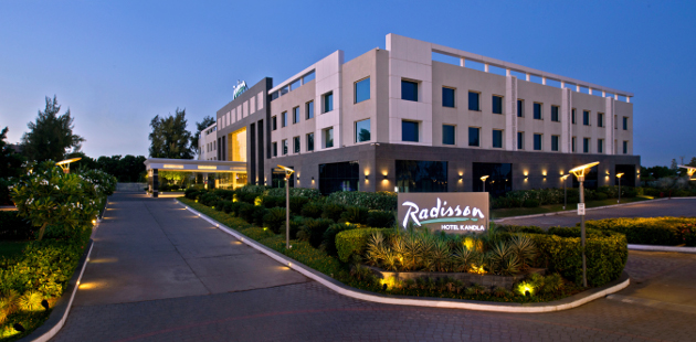 Exterior of the Radisson hotel in Gandhidham