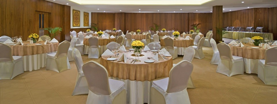 Banquet room set with round tables