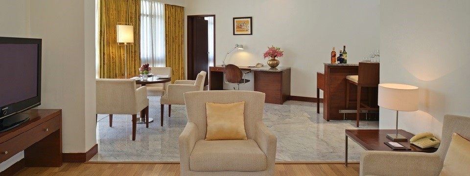 Deluxe Suite's living and dining areas