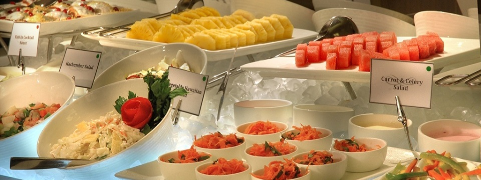 Buffet with fruit, salads and more