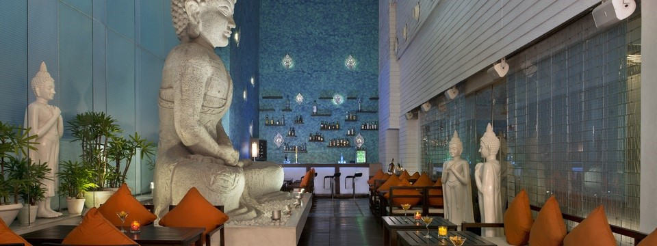 Nirvana bar with Vedic sculpture and comfortable seating