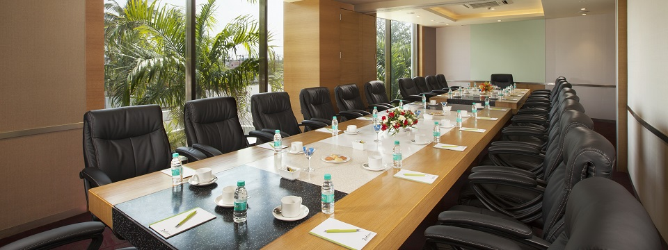 Naturally lit boardroom with large windows in Salem