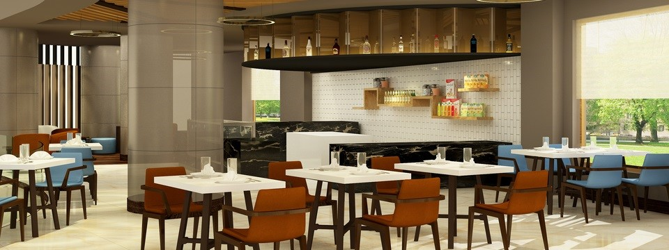 Dining area with tables and chairs inside bar and lounge
