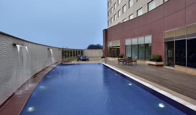 Outdoor swimming pool and lounge area