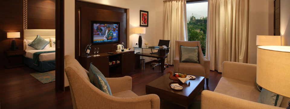 Spacious living room in a Jaipur hotel suite