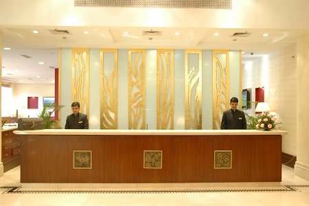 Varanasi hotel's reception desk
