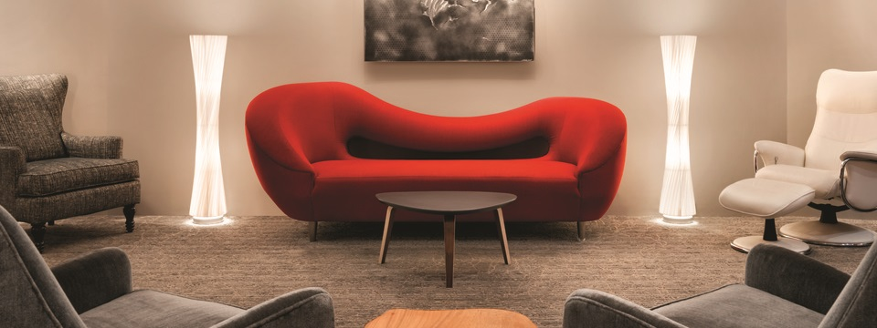 Contemporary seating, art and decor in the hotel lobby