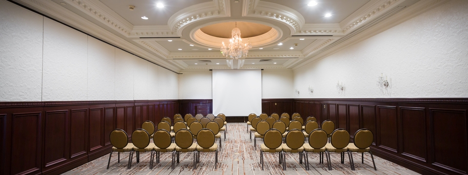 Spacious meeting room with ornate ceiling and chandelier