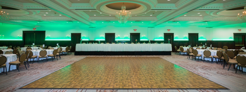 Ballroom with dance floor and a variety of lighting options
