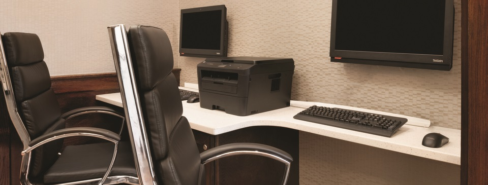 Computers and printer available for guest use