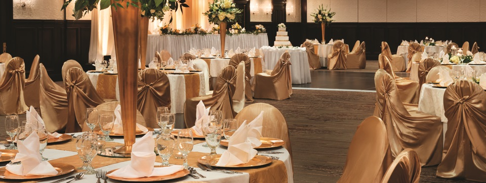 Bluegrass Ballroom with formally set round tables