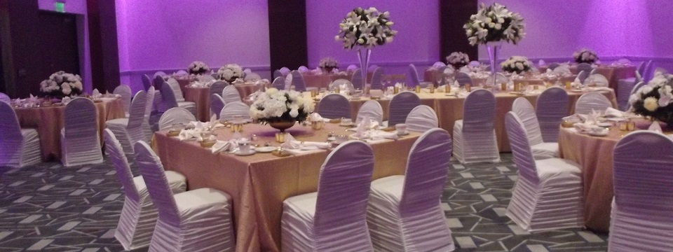 Ballroom with white chairs, gold tablecloths and soft, purple lighting