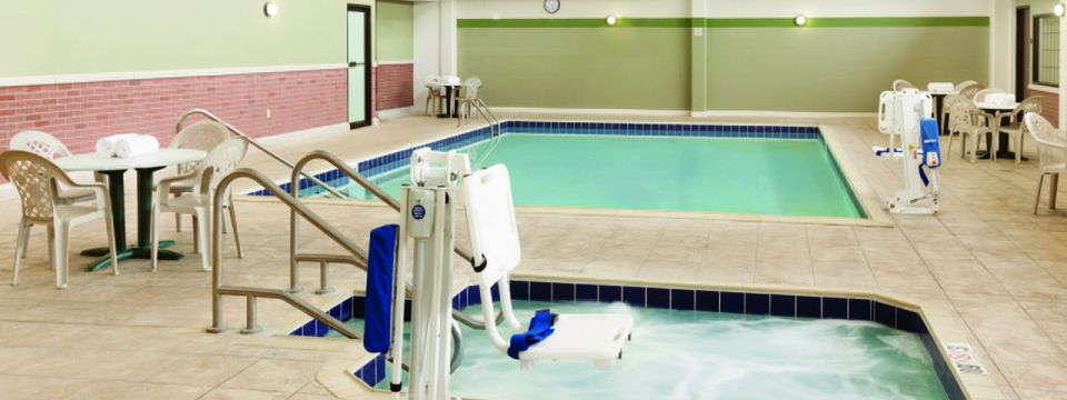 Indoor pool and hot tub at La Crosse hotel