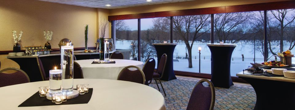 Meeting space with catering and view of snowy outdoors