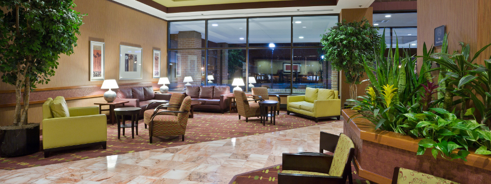 Lobby with comfortable chairs and sofas