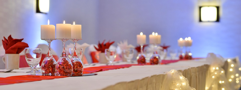 Reception table with candles and decorations