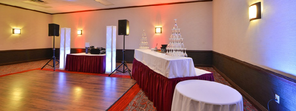 Dance floor and bar set up in ballroom