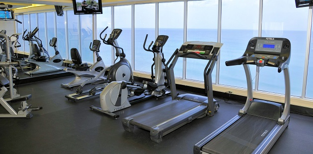 Fitness center with treadmills, an elliptical and a stationary bike