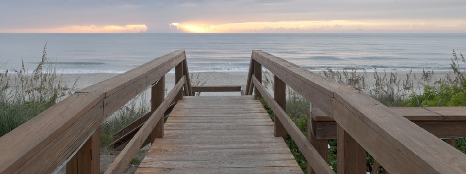 Boardwalk steps leading down to the ocean