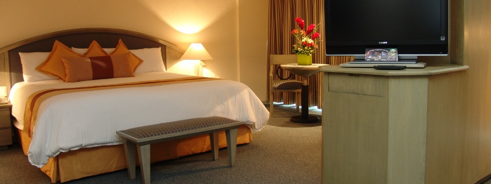 Guest suite with a king bed, a flat-screen TV and a bouquet of flowers