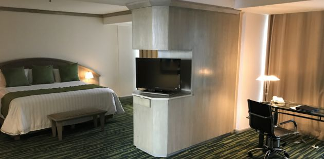 Guest suite with a king bed, work desk and flat-screen TV