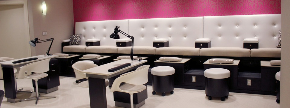 Blush Spa's manicure and pedicure stations