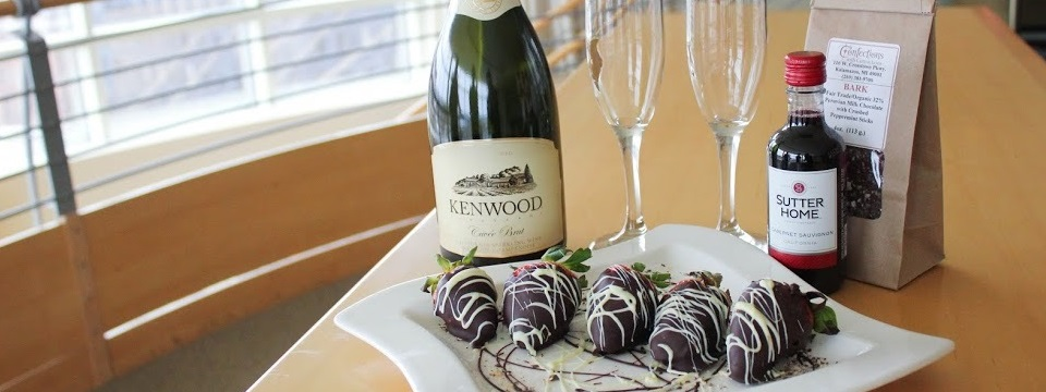 Chocolate-covered strawberries and champagne