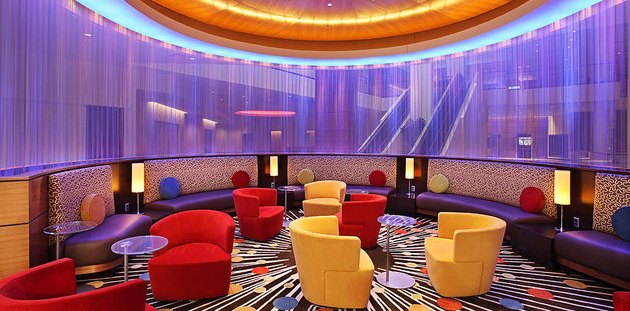 Hotel lobby with contemporary, colorful furnishings