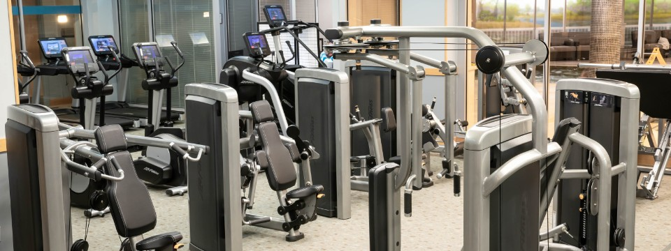 Fitness center with assorted strength-training machines and cardio equipment