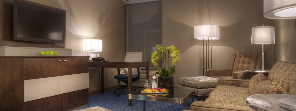 Contemporary hotel room with seating area
