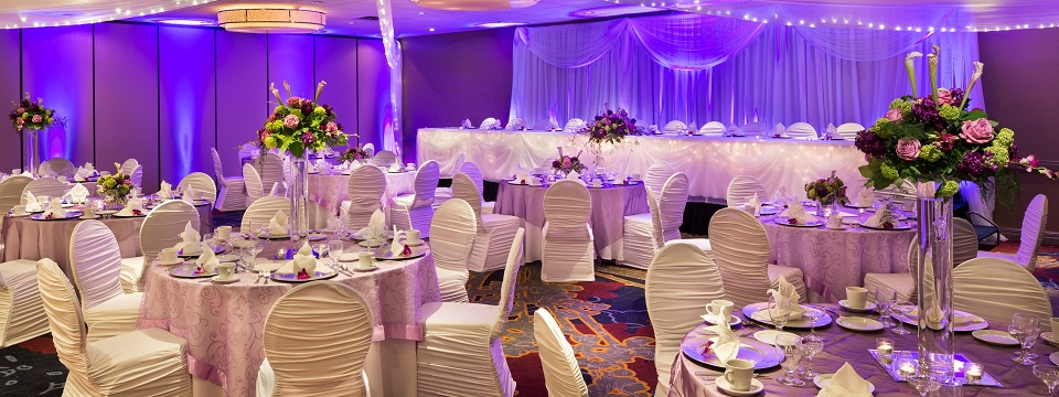Roseville hotel ballroom with creative lighting and decor