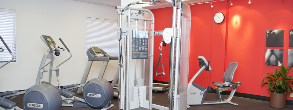 Hotel fitness center with ellipticals and weight machine