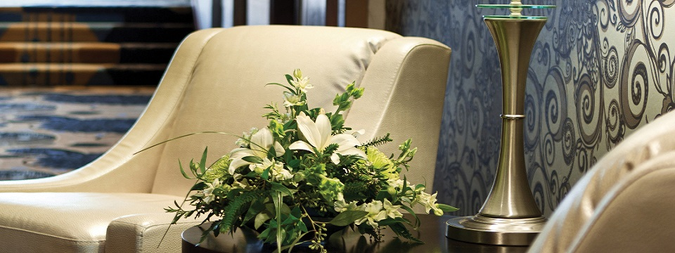 Chairs and flowers in lobby