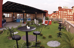 Hotel outdoor area with bistro table