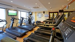 Hotel fitness centre with multiple treadmills