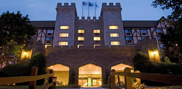 Castle-like Radisson hotel exterior at night