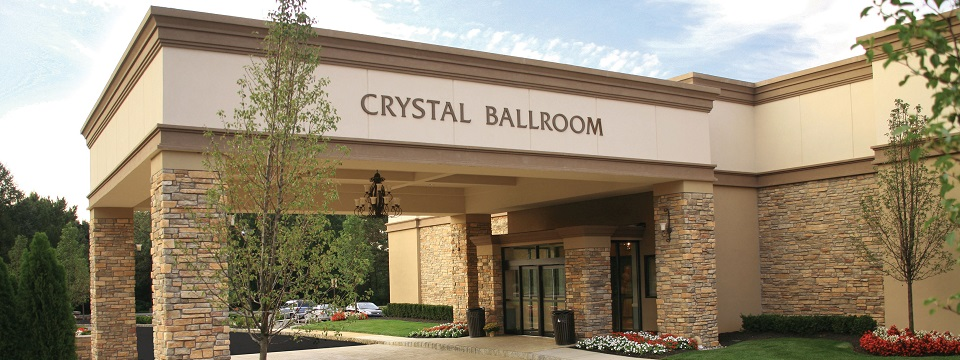 Crystal Ballroom entrance with scenic landscaping