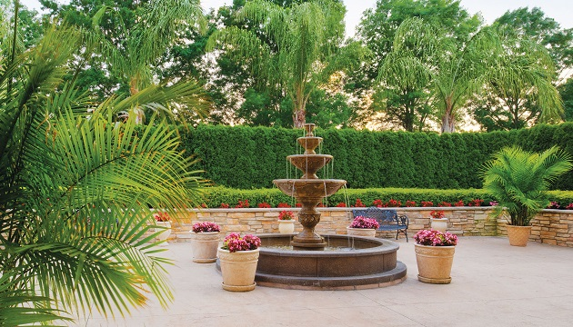 Fountain and lush greenery at Radisson Hotel Freehold